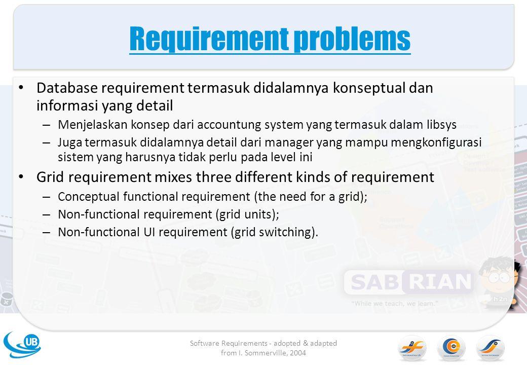 Requirement problems Database requirement termasuk didalamnya konseptual dan informasi yang detail – Menjelaskan konsep dari accountung system yang te