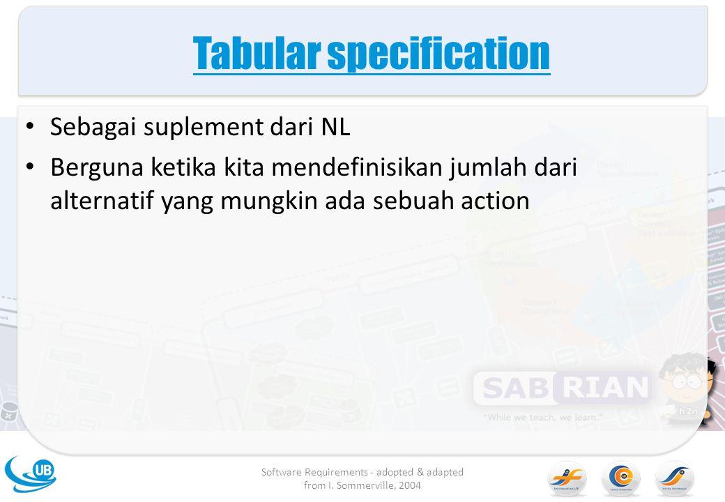 Tabular specification Sebagai suplement dari NL Berguna ketika kita mendefinisikan jumlah dari alternatif yang mungkin ada sebuah action Software Requ