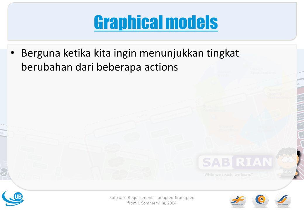 Graphical models Berguna ketika kita ingin menunjukkan tingkat berubahan dari beberapa actions Software Requirements - adopted & adapted from I. Somme
