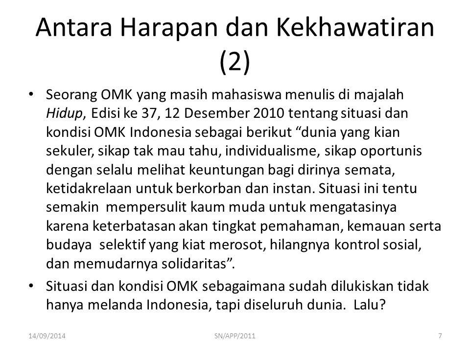 Antara Harapan dan Kekhawatiran (2) Seorang OMK yang masih mahasiswa menulis di majalah Hidup, Edisi ke 37, 12 Desember 2010 tentang situasi dan kondi