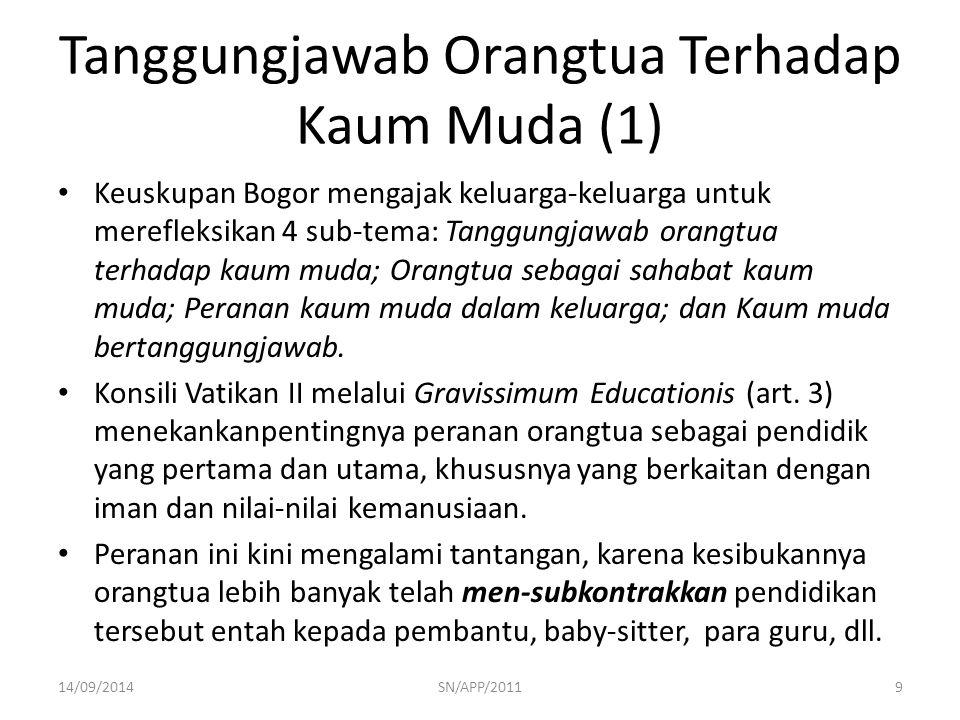 Tanggungjawab Orangtua Terhadap Kaum Muda (1) Keuskupan Bogor mengajak keluarga-keluarga untuk merefleksikan 4 sub-tema: Tanggungjawab orangtua terhad