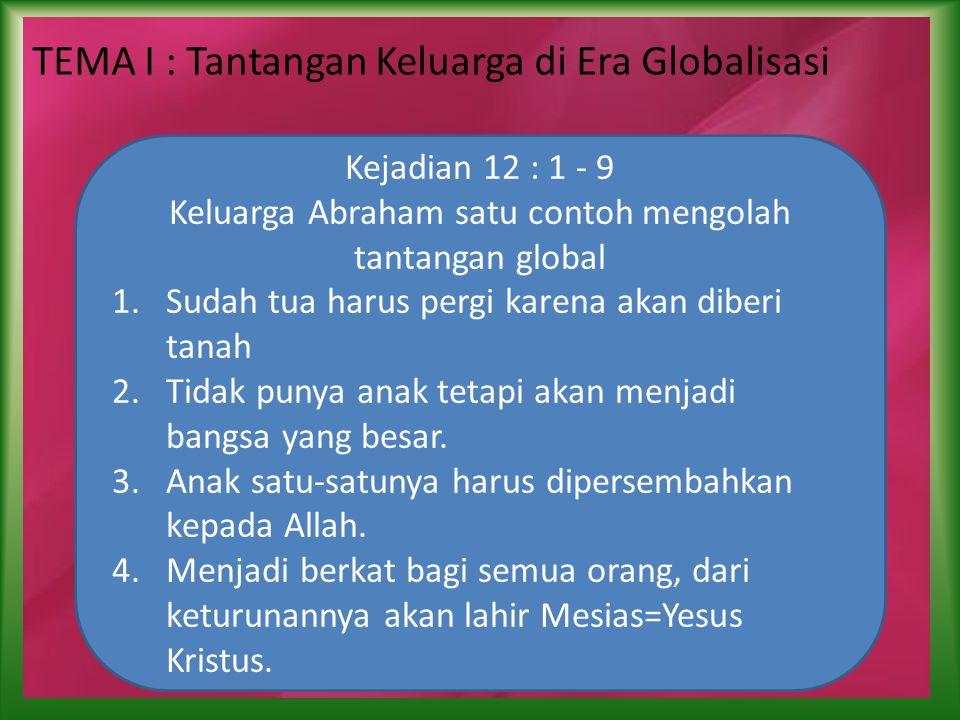 TEMA I : Tantangan Keluarga di Era Globalisasi Kejadian 12 : 1 - 9 Keluarga Abraham satu contoh mengolah tantangan global 1.Sudah tua harus pergi karena akan diberi tanah 2.Tidak punya anak tetapi akan menjadi bangsa yang besar.