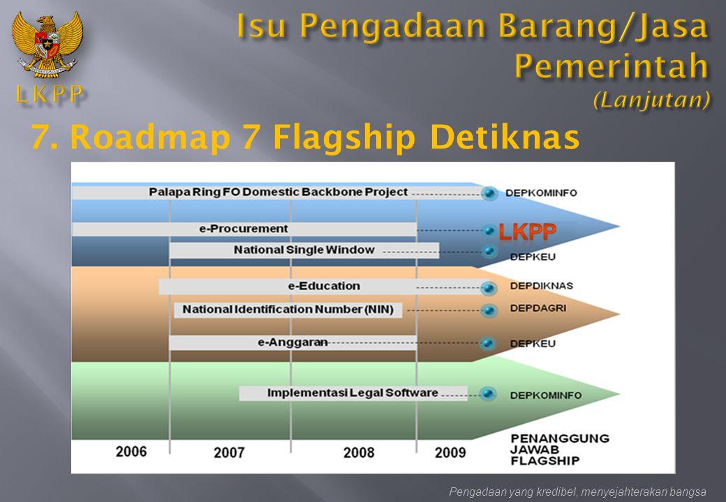 Pengadaan yang kredibel, menyejahterakan bangsa 7. Roadmap 7 Flagship Detiknas