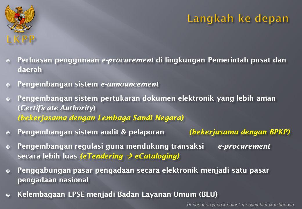  Perluasan penggunaan e-procurement di lingkungan Pemerintah pusat dan daerah  Pengembangan sistem e-announcement  Pengembangan sistem pertukaran d