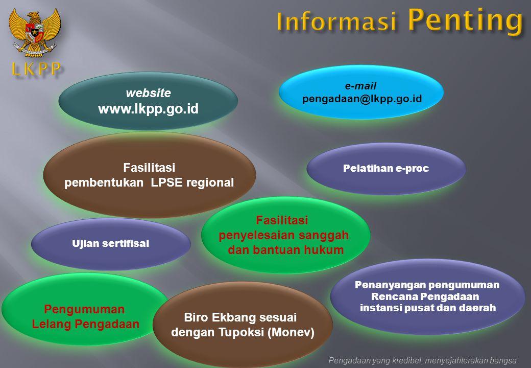 Fasilitasi pembentukan LPSE regional e-mail pengadaan@lkpp.go.id website www.lkpp.go.id Fasilitasi penyelesaian sanggah dan bantuan hukum Pengadaan ya