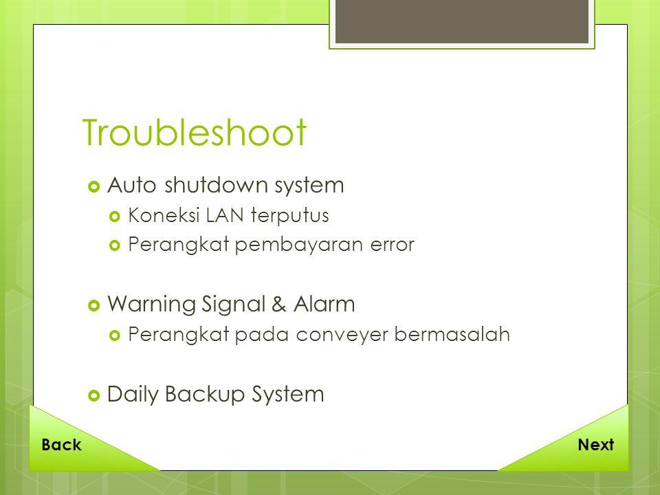 Troubleshoot  Auto shutdown system  Koneksi LAN terputus  Perangkat pembayaran error  Warning Signal & Alarm  Perangkat pada conveyer bermasalah  Daily Backup System BackNext