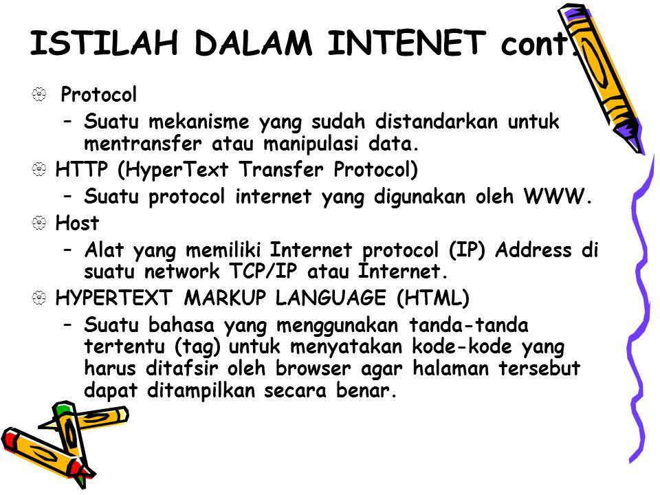  Protocol –Suatu mekanisme yang sudah distandarkan untuk mentransfer atau manipulasi data.  HTTP (HyperText Transfer Protocol) –Suatu protocol inter