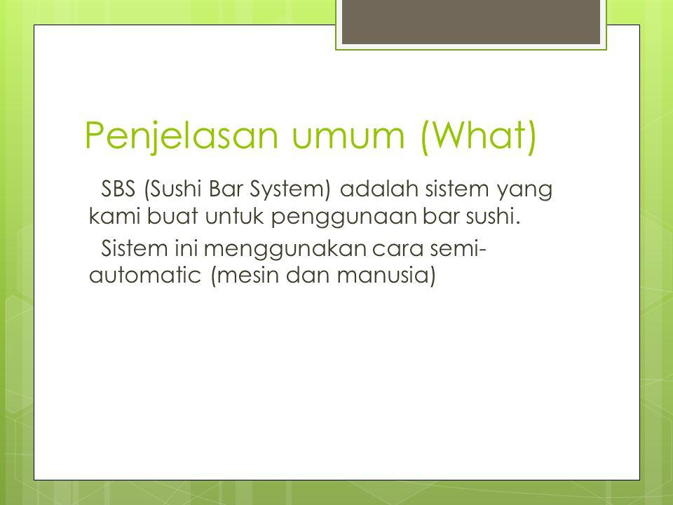 Penjelasan umum (What) SBS (Sushi Bar System) adalah sistem yang kami buat untuk penggunaan bar sushi.