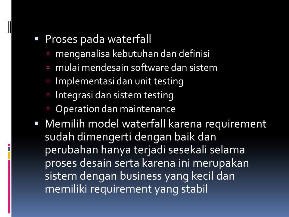  Proses pada waterfall  menganalisa kebutuhan dan definisi  mulai mendesain software dan sistem  Implementasi dan unit testing  Integrasi dan sis