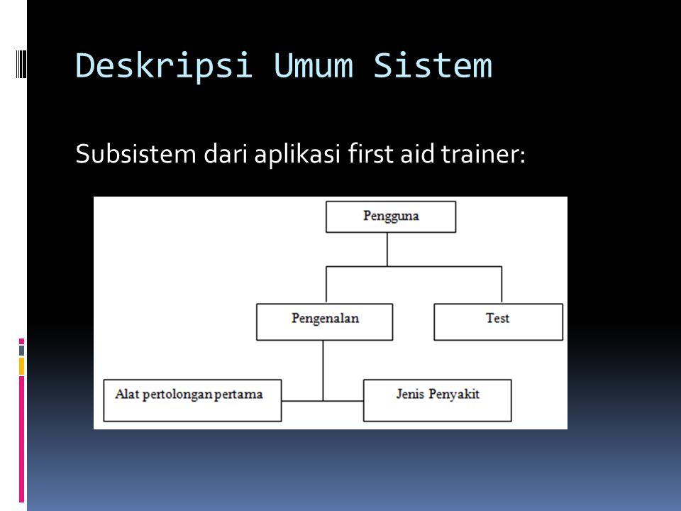 Deskripsi Umum Sistem Subsistem dari aplikasi first aid trainer: