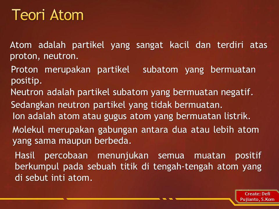 Atom adalah partikel yang sangat kacil dan terdiri atas proton, neutron.