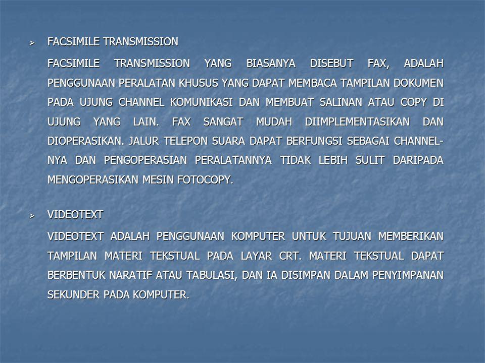  FACSIMILE TRANSMISSION FACSIMILE TRANSMISSION YANG BIASANYA DISEBUT FAX, ADALAH PENGGUNAAN PERALATAN KHUSUS YANG DAPAT MEMBACA TAMPILAN DOKUMEN PADA