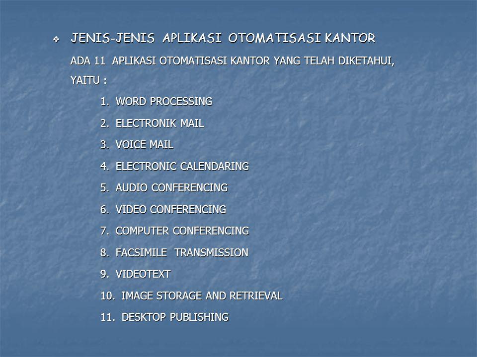  JENIS-JENIS APLIKASI OTOMATISASI KANTOR ADA 11 APLIKASI OTOMATISASI KANTOR YANG TELAH DIKETAHUI, YAITU : 1. WORD PROCESSING 2. ELECTRONIK MAIL 3. VO