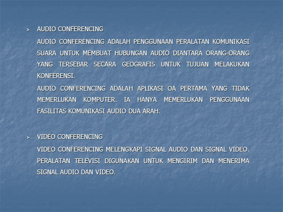  AUDIO CONFERENCING AUDIO CONFERENCING ADALAH PENGGUNAAN PERALATAN KOMUNIKASI SUARA UNTUK MEMBUAT HUBUNGAN AUDIO DIANTARA ORANG-ORANG YANG TERSEBAR S