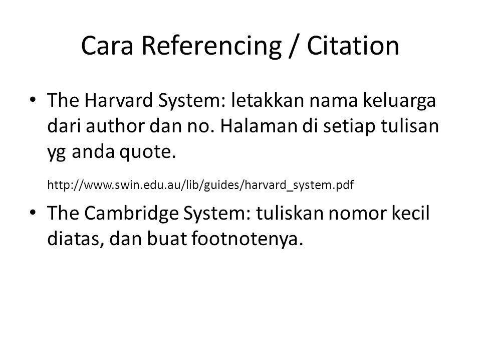 Cara Referencing / Citation The Harvard System: letakkan nama keluarga dari author dan no. Halaman di setiap tulisan yg anda quote. http://www.swin.ed