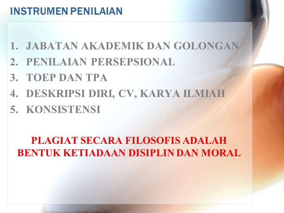 INSTRUMEN PENILAIAN 1.JABATAN AKADEMIK DAN GOLONGAN 2.PENILAIAN PERSEPSIONAL 3. TOEP DAN TPA 4.DESKRIPSI DIRI, CV, KARYA ILMIAH 5. KONSISTENSI PLAGIAT
