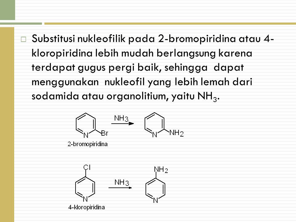  Substitusi nukleofilik pada 2-bromopiridina atau 4- kloropiridina lebih mudah berlangsung karena terdapat gugus pergi baik, sehingga dapat menggunakan nukleofil yang lebih lemah dari sodamida atau organolitium, yaitu NH 3.