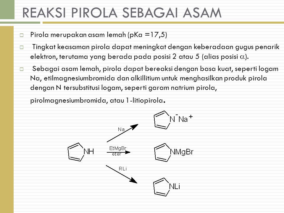 REAKSI PIROLA SEBAGAI ASAM  Pirola merupakan asam lemah (pKa =17,5)  Tingkat keasaman pirola dapat meningkat dengan keberadaan gugus penarik elektron, terutama yang berada pada posisi 2 atau 5 (alias posisi  ).