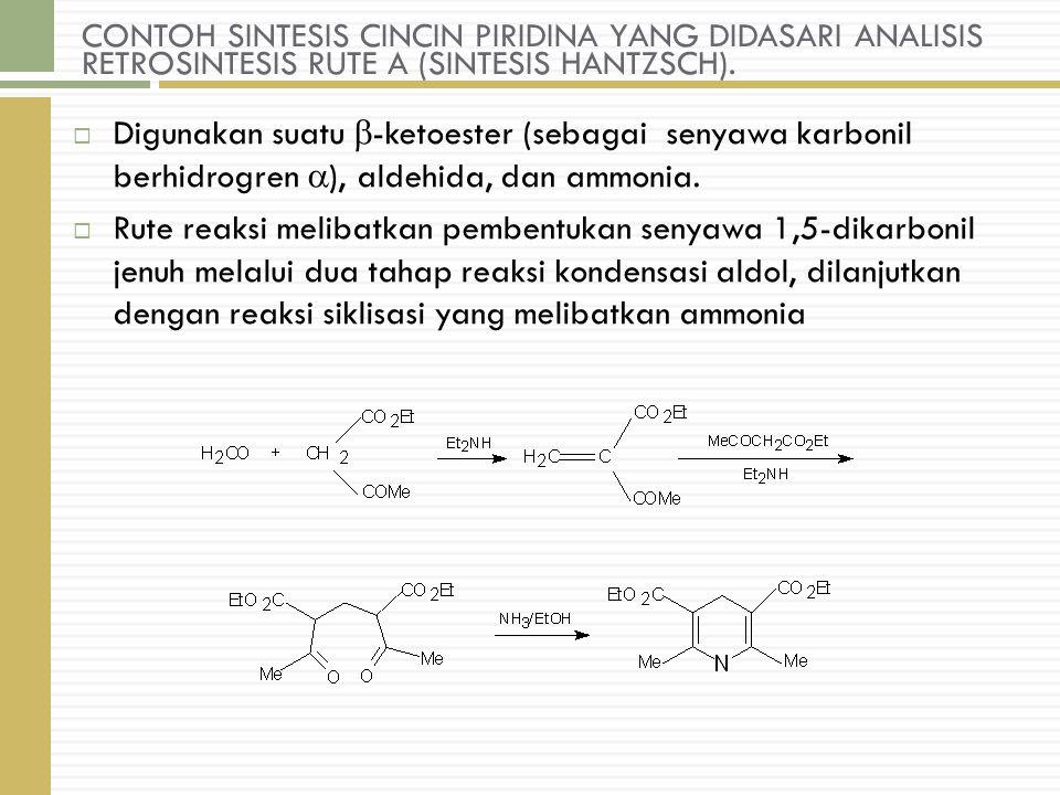 CONTOH SINTESIS CINCIN PIRIDINA YANG DIDASARI ANALISIS RETROSINTESIS RUTE A (SINTESIS HANTZSCH).