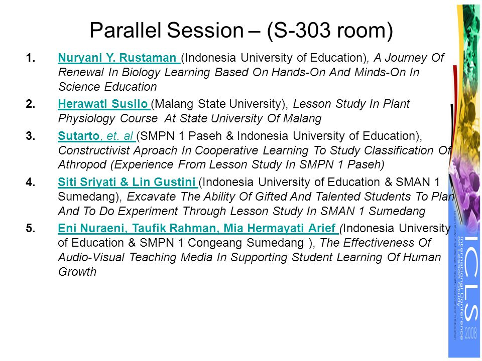 Parallel Session – (S-303 room) 1.Nuryani Y.