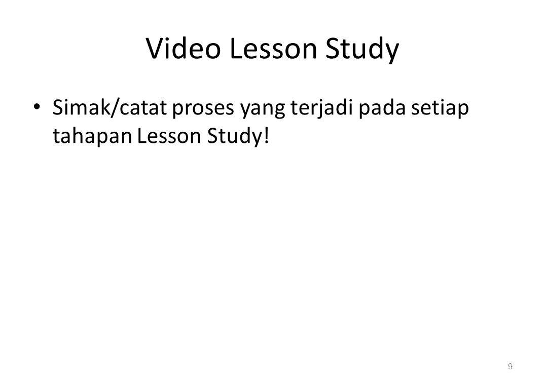 Video Lesson Study Simak/catat proses yang terjadi pada setiap tahapan Lesson Study! 9