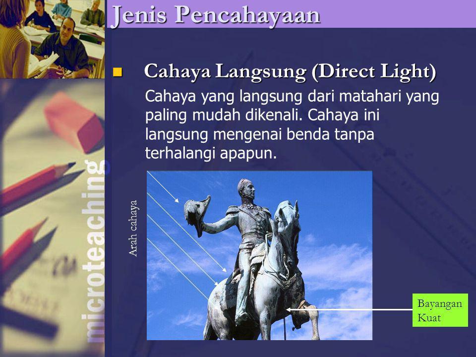Jenis Pencahayaan Cahaya Langsung (Direct Light) Cahaya Langsung (Direct Light) Cahaya yang langsung dari matahari yang paling mudah dikenali. Cahaya