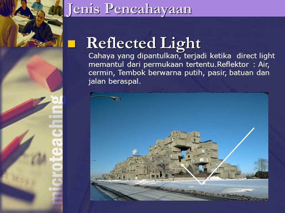 Reflected Light Reflected Light Jenis Pencahayaan Cahaya yang dipantulkan, terjadi ketika direct light memantul dari permukaan tertentu.Reflektor : Ai