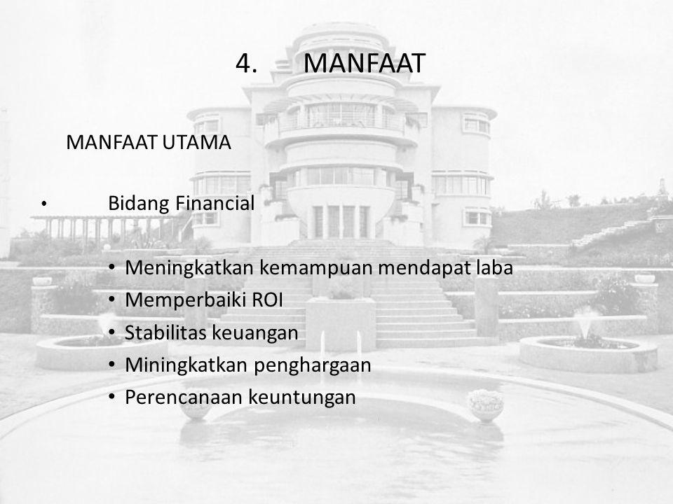4.MANFAAT MANFAAT UTAMA Bidang Financial Meningkatkan kemampuan mendapat laba Memperbaiki ROI Stabilitas keuangan Miningkatkan penghargaan Perencanaan keuntungan