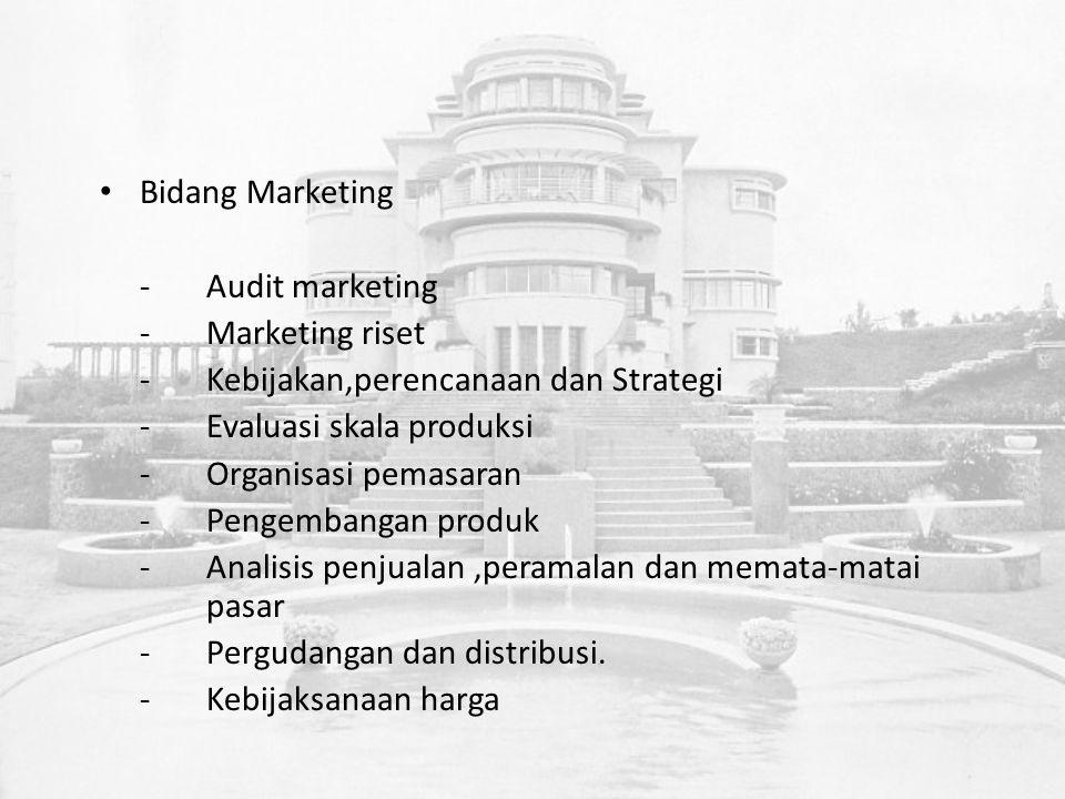 Bidang Marketing -Audit marketing -Marketing riset -Kebijakan,perencanaan dan Strategi -Evaluasi skala produksi -Organisasi pemasaran -Pengembangan produk -Analisis penjualan,peramalan dan memata-matai pasar -Pergudangan dan distribusi.