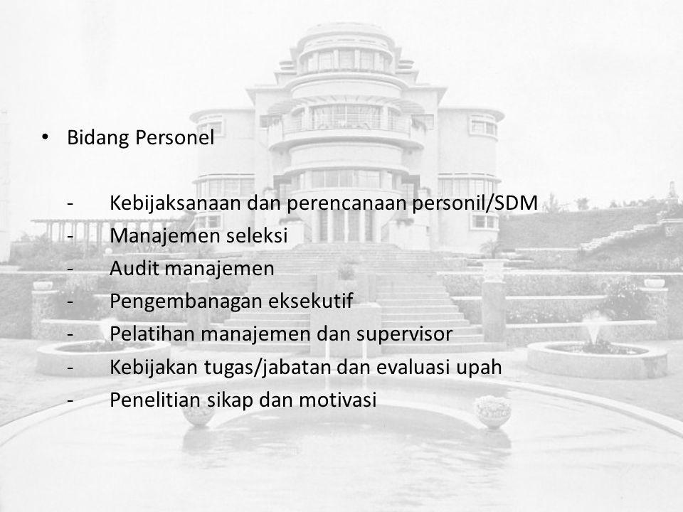 Bidang Personel -Kebijaksanaan dan perencanaan personil/SDM -Manajemen seleksi -Audit manajemen -Pengembanagan eksekutif -Pelatihan manajemen dan supervisor -Kebijakan tugas/jabatan dan evaluasi upah -Penelitian sikap dan motivasi