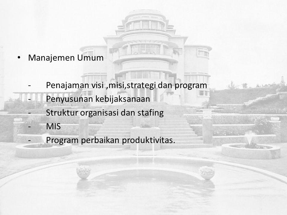 Manajemen Umum -Penajaman visi,misi,strategi dan program -Penyusunan kebijaksanaan -Struktur organisasi dan stafing -MIS -Program perbaikan produktivitas.