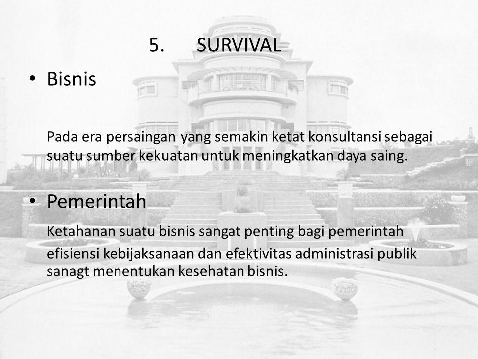 5.SURVIVAL Bisnis Pada era persaingan yang semakin ketat konsultansi sebagai suatu sumber kekuatan untuk meningkatkan daya saing.