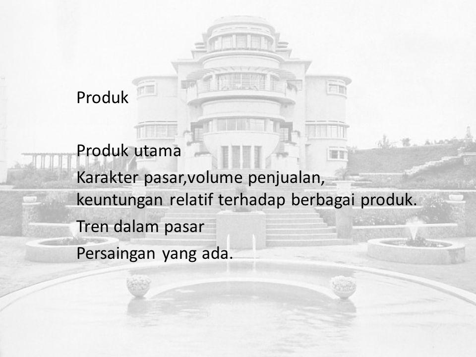 Produk Produk utama Karakter pasar,volume penjualan, keuntungan relatif terhadap berbagai produk.