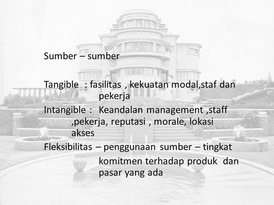 Sumber – sumber Tangible : fasilitas, kekuatan modal,staf dan pekerja Intangible :Keandalan management,staff,pekerja, reputasi, morale, lokasi akses Fleksibilitas – penggunaan sumber – tingkat komitmen terhadap produk dan pasar yang ada