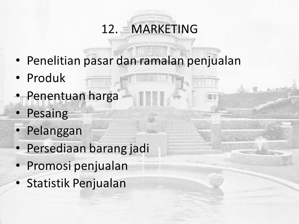 12.MARKETING Penelitian pasar dan ramalan penjualan Produk Penentuan harga Pesaing Pelanggan Persediaan barang jadi Promosi penjualan Statistik Penjualan