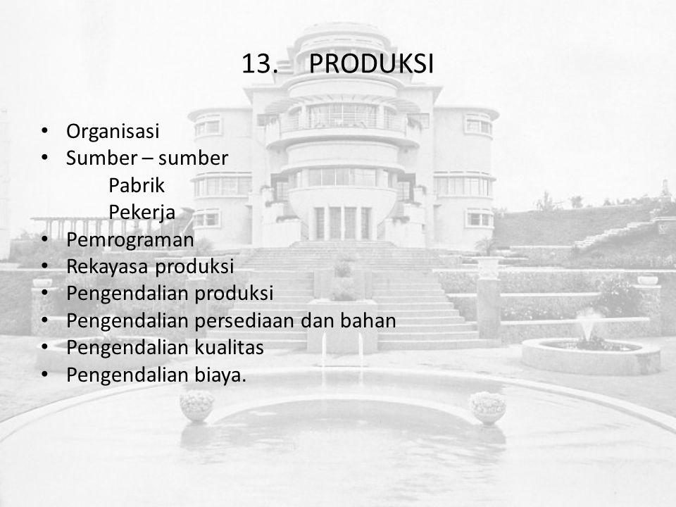 13.PRODUKSI Organisasi Sumber – sumber Pabrik Pekerja Pemrograman Rekayasa produksi Pengendalian produksi Pengendalian persediaan dan bahan Pengendalian kualitas Pengendalian biaya.