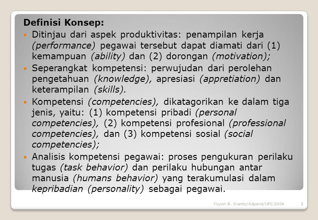 Definisi Konsep: Ditinjau dari aspek produktivitas: penampilan kerja (performance) pegawai tersebut dapat diamati dari (1) kemampuan (ability) dan (2)