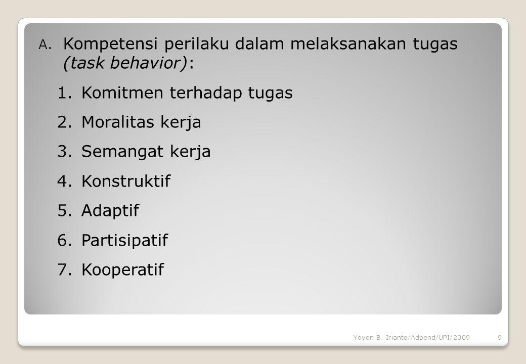 A. Kompetensi perilaku dalam melaksanakan tugas (task behavior): 1.Komitmen terhadap tugas 2.Moralitas kerja 3.Semangat kerja 4.Konstruktif 5.Adaptif