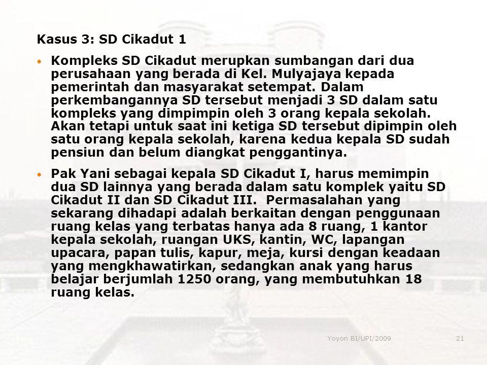 Yoyon BI/UPI/200921 Kasus 3: SD Cikadut 1 Kompleks SD Cikadut merupkan sumbangan dari dua perusahaan yang berada di Kel. Mulyajaya kepada pemerintah d