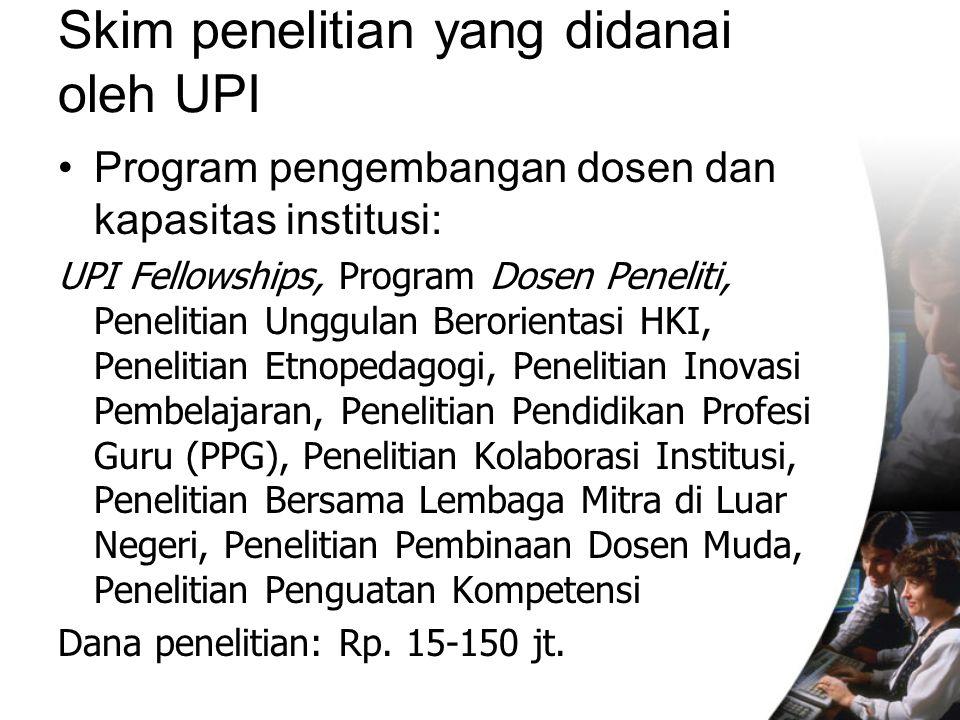 Skim penelitian yang didanai oleh UPI Program pengembangan dosen dan kapasitas institusi: UPI Fellowships, Program Dosen Peneliti, Penelitian Unggulan Berorientasi HKI, Penelitian Etnopedagogi, Penelitian Inovasi Pembelajaran, Penelitian Pendidikan Profesi Guru (PPG), Penelitian Kolaborasi Institusi, Penelitian Bersama Lembaga Mitra di Luar Negeri, Penelitian Pembinaan Dosen Muda, Penelitian Penguatan Kompetensi Dana penelitian: Rp.