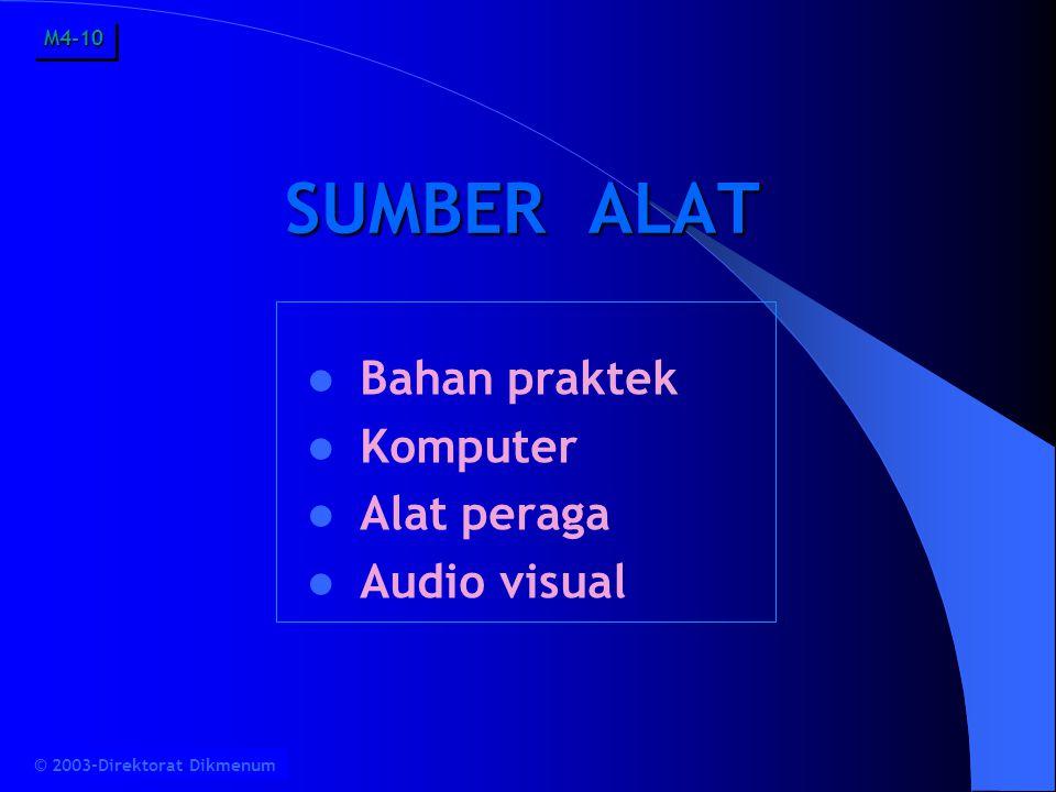 SUMBER ALAT Bahan praktek Komputer Alat peraga Audio visual M4-10M4-10 © 2003-Direktorat Dikmenum