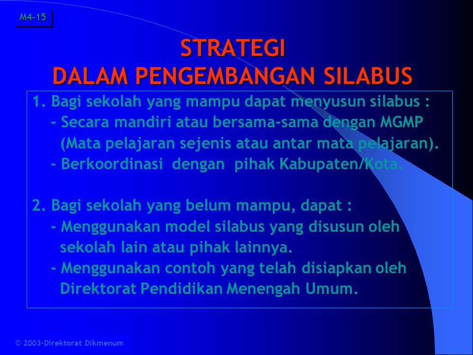 STRATEGI DALAM PENGEMBANGAN SILABUS 1.