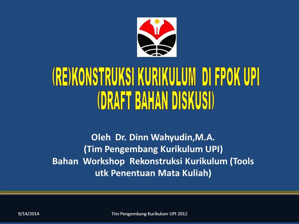 Oleh Dr. Dinn Wahyudin,M.A. (Tim Pengembang Kurikulum UPI) Bahan Workshop Rekonstruksi Kurikulum (Tools utk Penentuan Mata Kuliah) 9/14/2014Tim Pengem