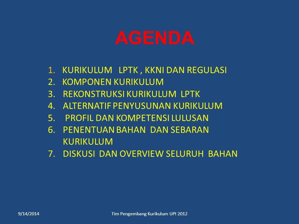 TERIMA KASIH. dinn_wahyudin@yahoo.com 9/14/2014Tim Pengembang Kurikulum UPI 2012
