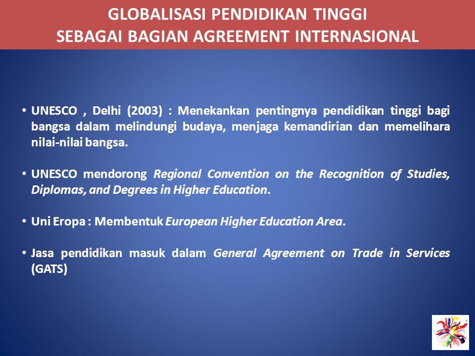 GLOBALISASI PENDIDIKAN TINGGI SEBAGAI BAGIAN AGREEMENT INTERNASIONAL UNESCO, Delhi (2003) : Menekankan pentingnya pendidikan tinggi bagi bangsa dalam