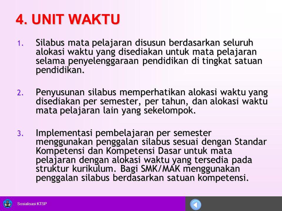 Sosialisasi KTSP 4. UNIT WAKTU 1. Silabus mata pelajaran disusun berdasarkan seluruh alokasi waktu yang disediakan untuk mata pelajaran selama penyele