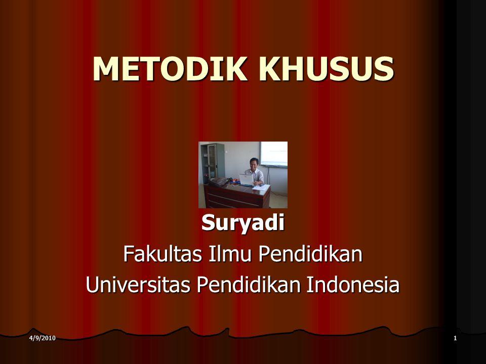 4/9/20101 METODIK KHUSUS Suryadi Fakultas Ilmu Pendidikan Universitas Pendidikan Indonesia