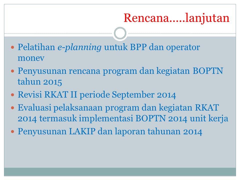 Pelatihan e-planning untuk BPP dan operator monev Penyusunan rencana program dan kegiatan BOPTN tahun 2015 Revisi RKAT II periode September 2014 Evalu