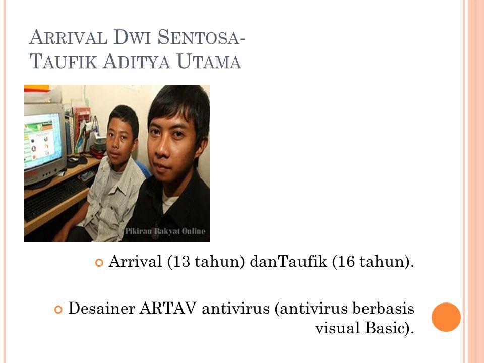 A RRIVAL D WI S ENTOSA - T AUFIK A DITYA U TAMA Arrival (13 tahun) danTaufik (16 tahun). Desainer ARTAV antivirus (antivirus berbasis visual Basic).