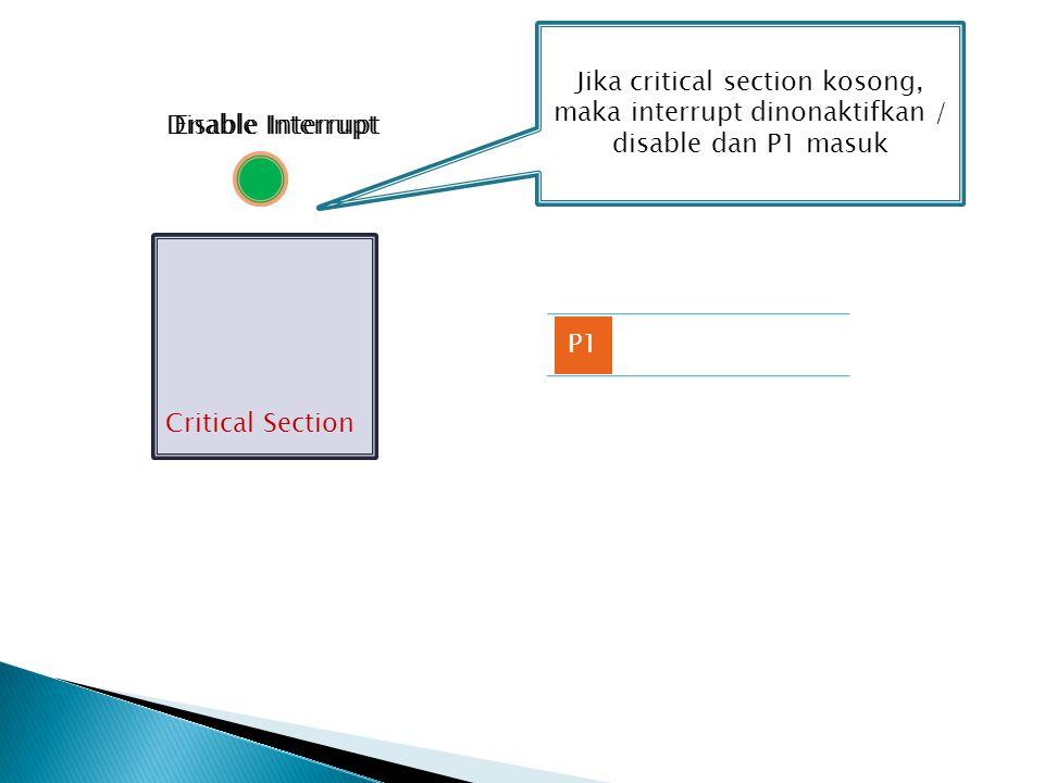 Critical Section P1 Jika critical section kosong, maka interrupt dinonaktifkan / disable dan P1 masuk Enable InterruptDisable Interrupt